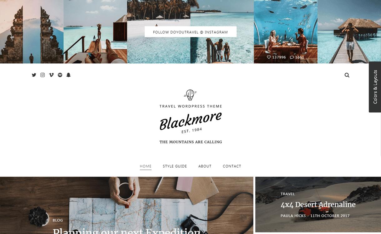 blackmore best travel blogs wordpress themes 1 - 21+ Best WordPress Travel Blog Themes 2019