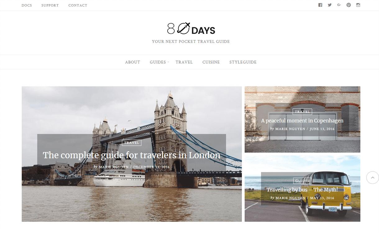 Eightdays-Best Travel Blogs WordPress Themes