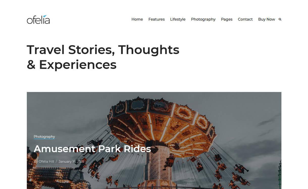 ofelia best travel blogs wordpress themes - 21+ Best WordPress Travel Blog Themes 2019