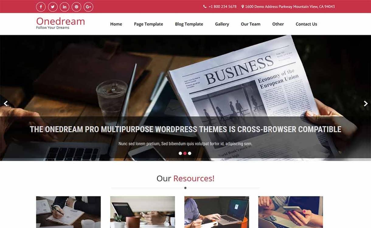 one dream - 21+ Best Free WordPress Themes May 2018
