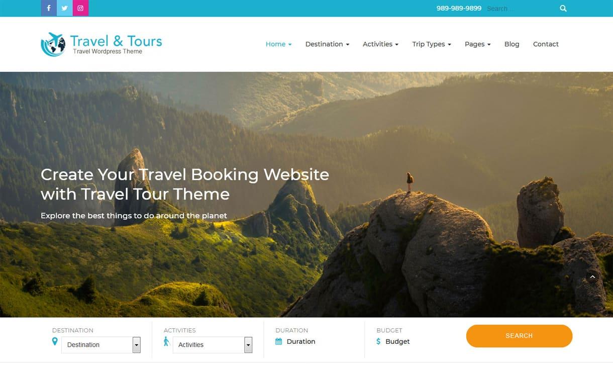 travel tour - 21+ Best Free WordPress Themes May 2018