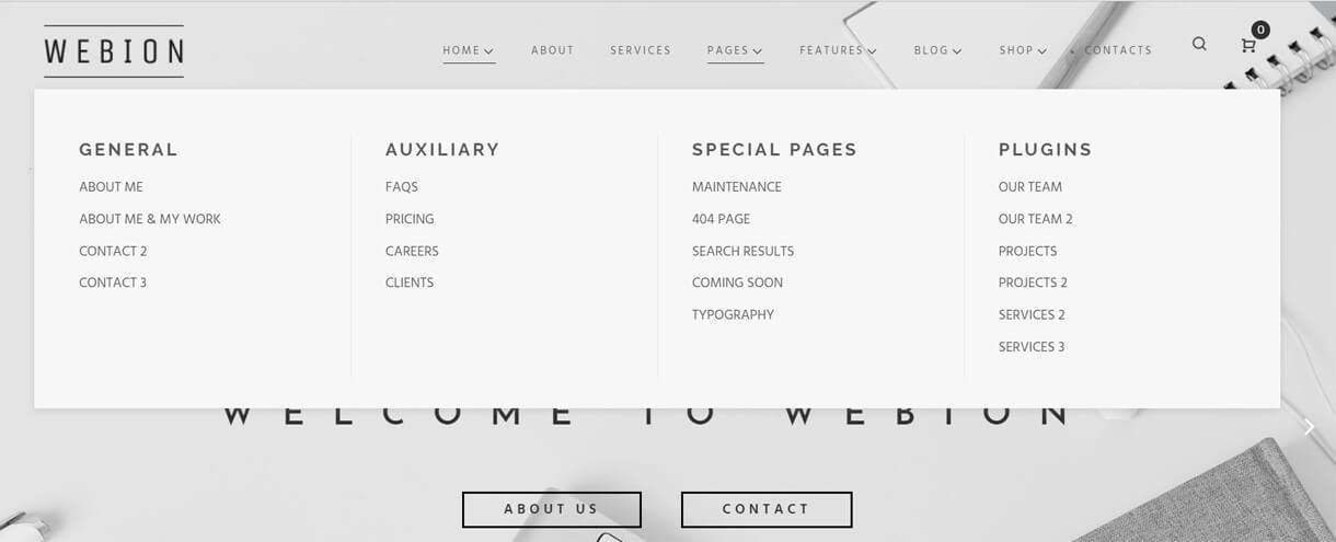 webion pages - Webion - Minimal Elementor Multipurpose WordPress Theme