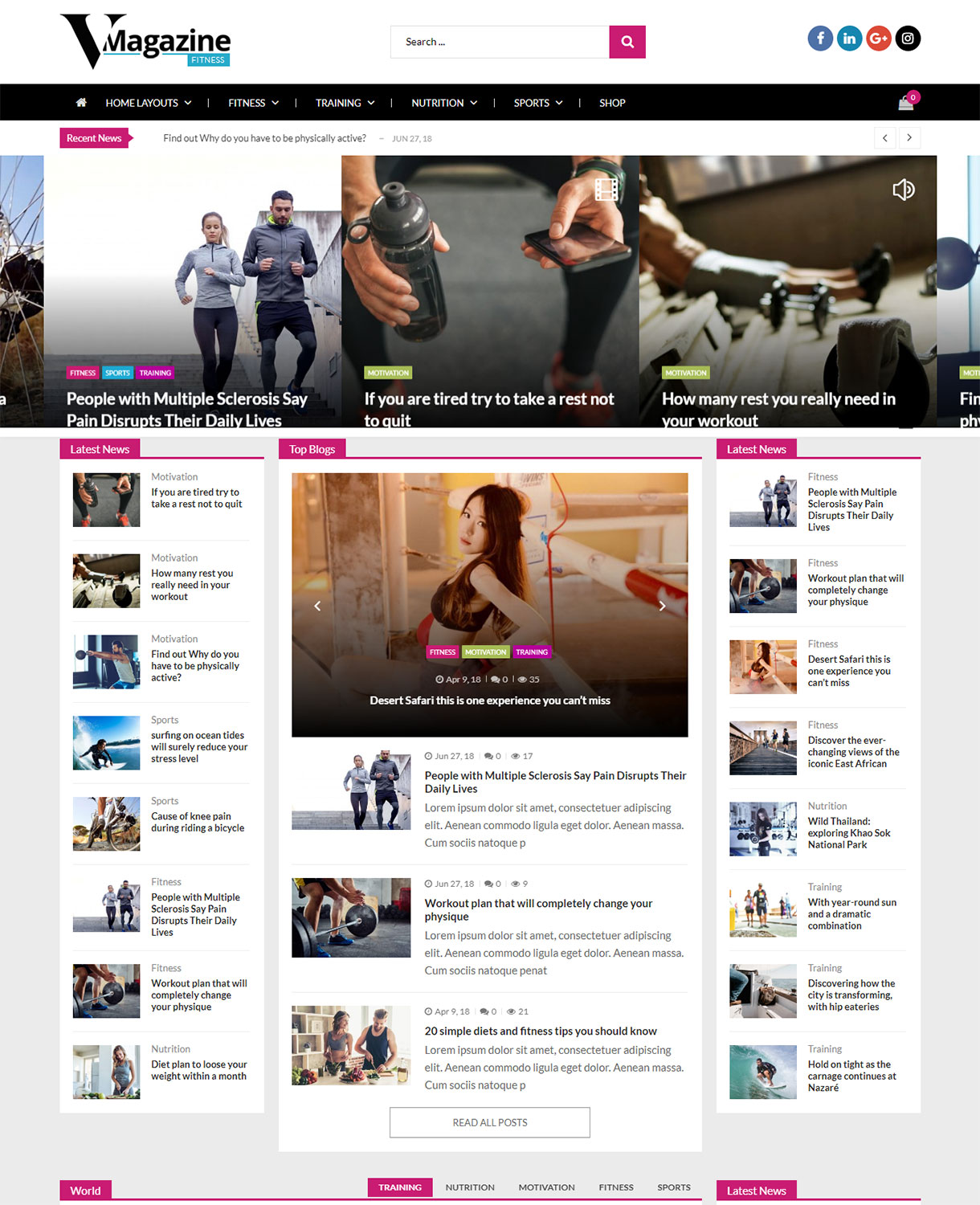 vmagazine fitness demo - VMagazine Review - A hassle free, simple, clean and beautiful WordPress theme to start your news and magazine website