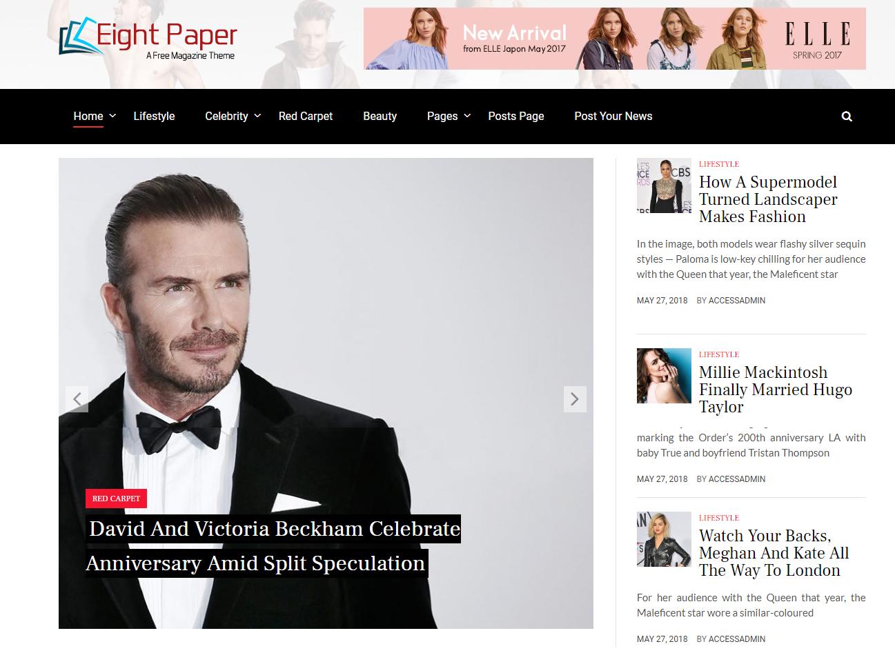 Eight Paper - Free WordPress Blog Magazine Theme