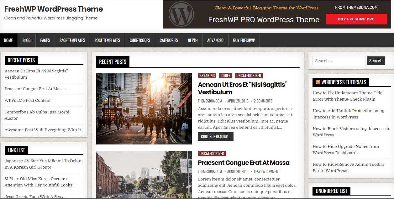 FreshWP - Free Blog WordPress Theme