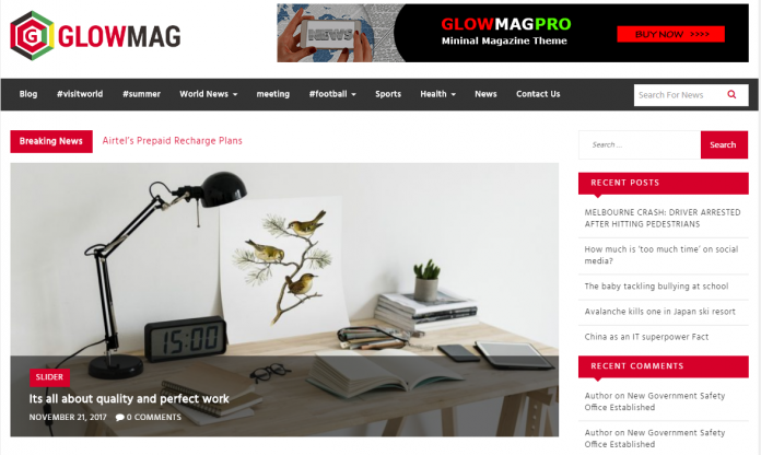 GlowMag - Free Magazine WordPress Theme