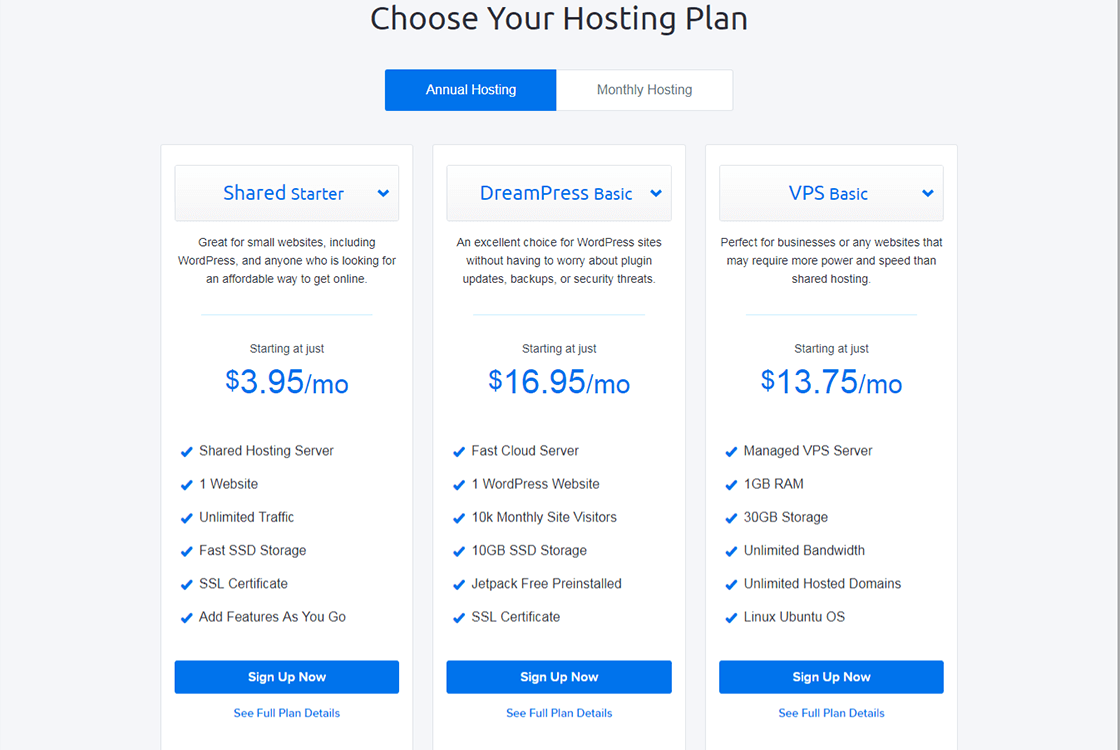 DreamHost WordPress Hosting Plans