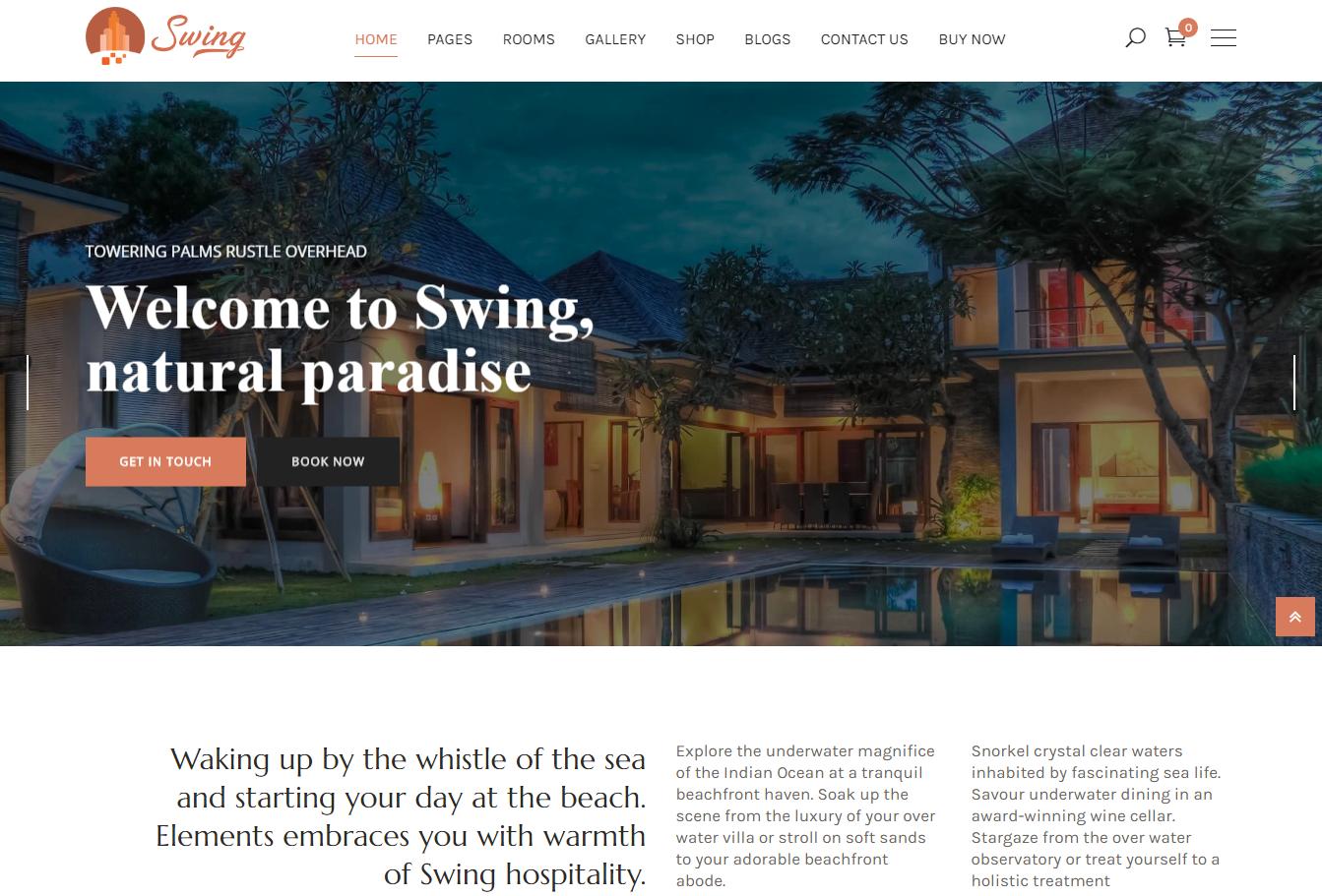 Swing Resort and Hotel WordPress Theme - 10+ Best Hotel / Resort Premium WordPress Themes and Templates