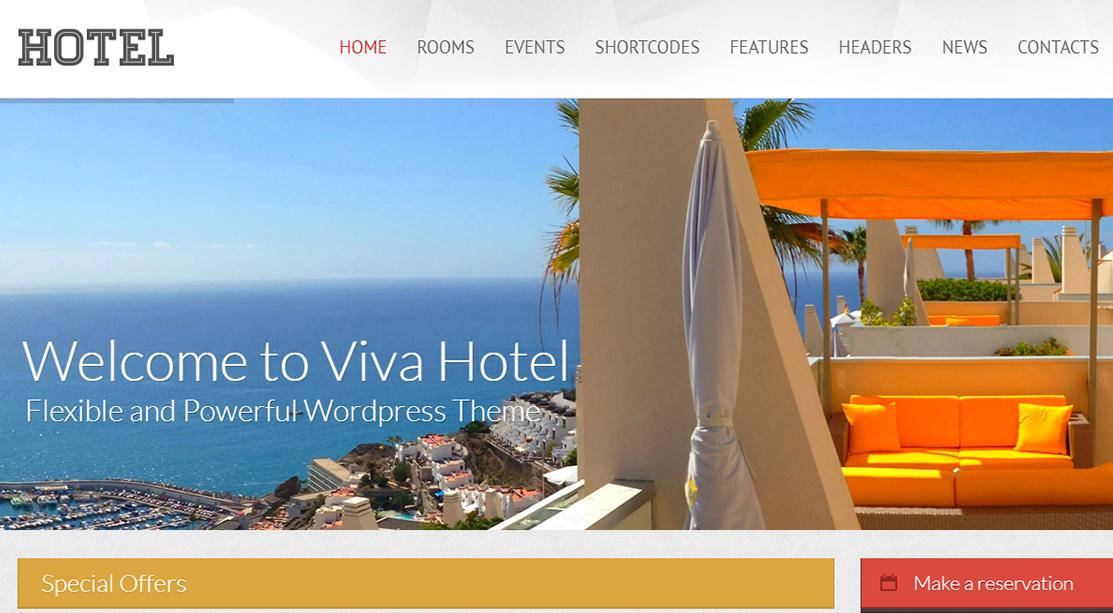 Viva Hotel Premium Responsive WordPress Theme - 10+ Best Hotel / Resort Premium WordPress Themes and Templates