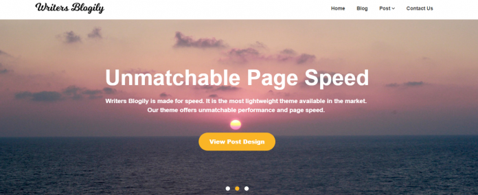 Writers Blogily - Free Blog WordPress Theme