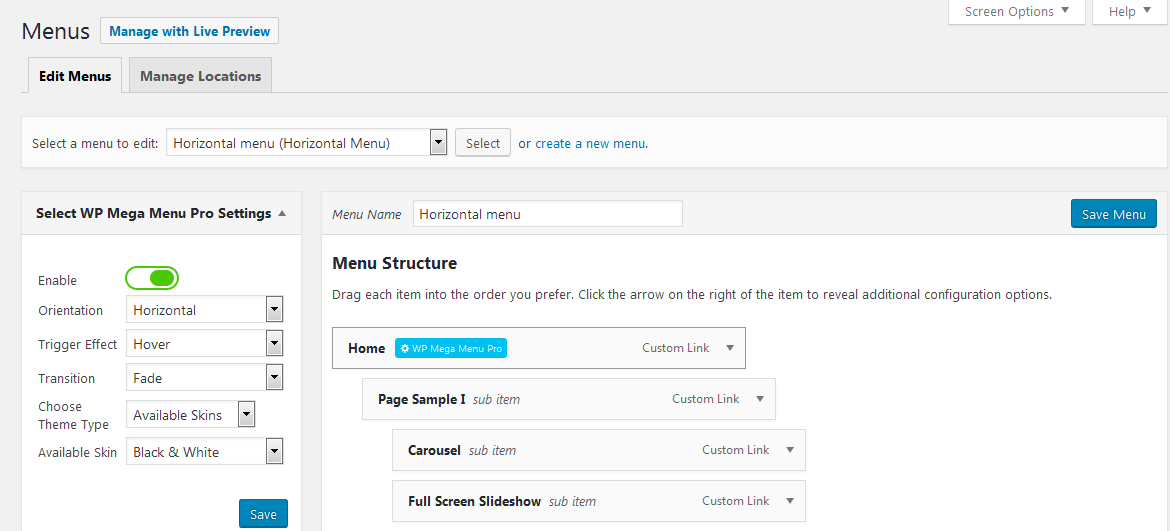 admin menu settings - How to Add Mega Menu in your WordPress Website or Blog (Step by step guide: screenshots included!)