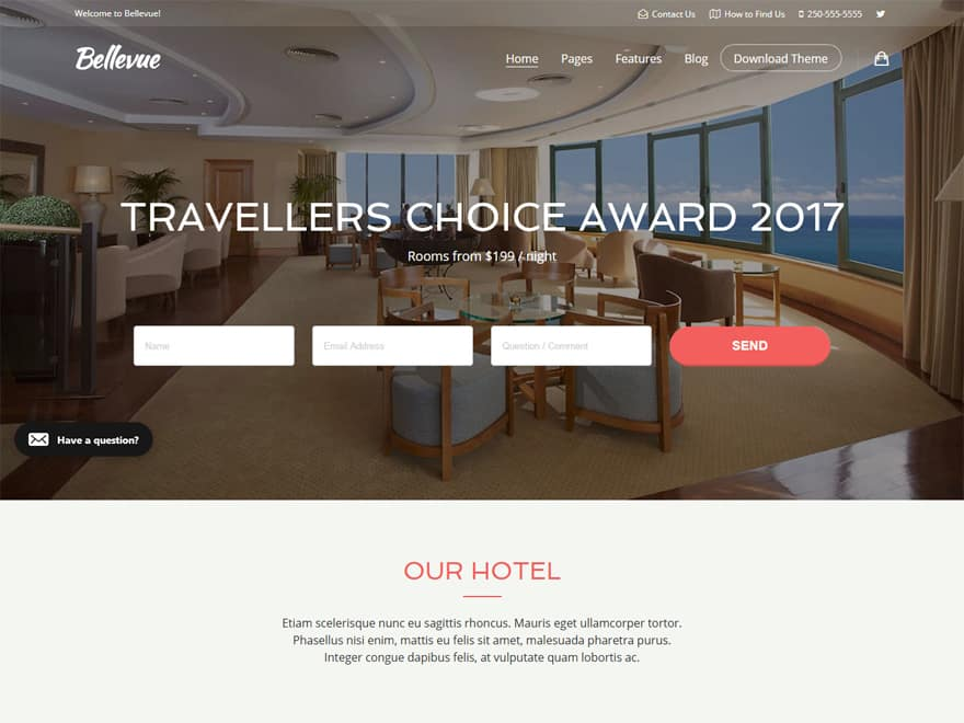 bellevue - 10+ Best Hotel / Resort Premium WordPress Themes and Templates
