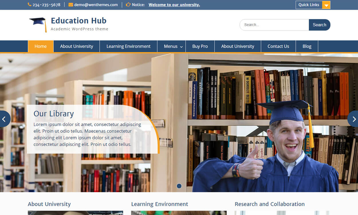 education hub best education school college wordpress themes templates free - 10+ Best Education - School, College WordPress Themes and Templates (Free)