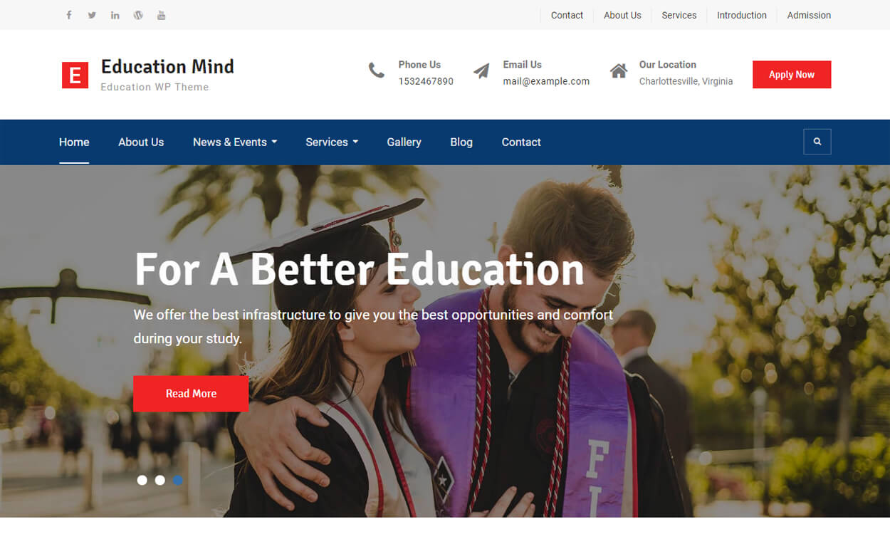 Education Mind - Best Education School College WordPress Themes and Templates (Free)