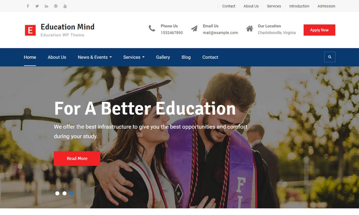 education mind best education school college wordpress themes templates free - 10+ Best Education - School, College WordPress Themes and Templates (Free)