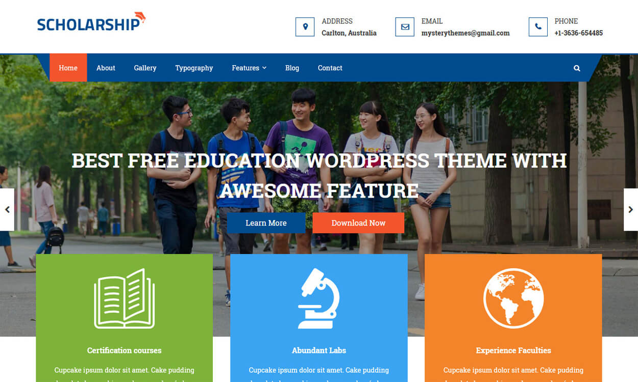 scholarship best education school college wordpress themes templates free - 10+ Best Education - School, College WordPress Themes and Templates (Free)