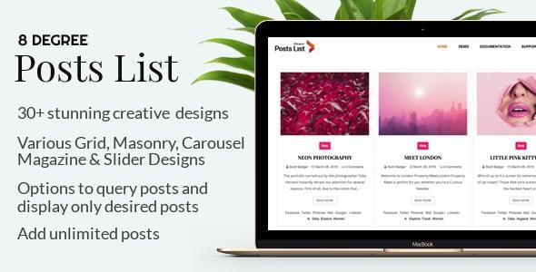 8Degree Posts List - Premium WordPress Post Listing Plugin