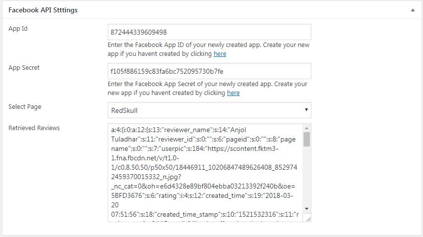 WP FB Review Showcase: API Settings