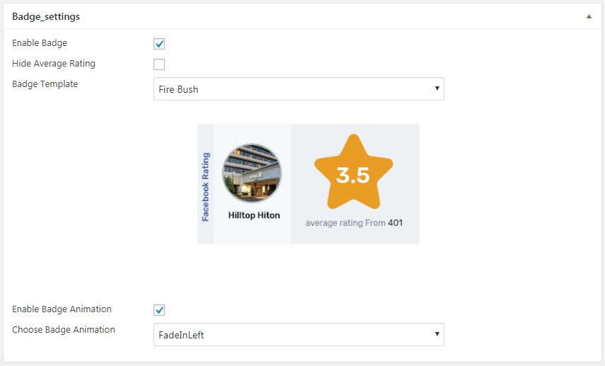 badge settings - How to Display Facebook Page Reviews on your WordPress Website? (Step by Step Guide)