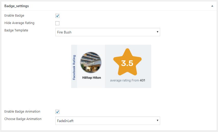 WP FB Review Showcase: Badge Settings
