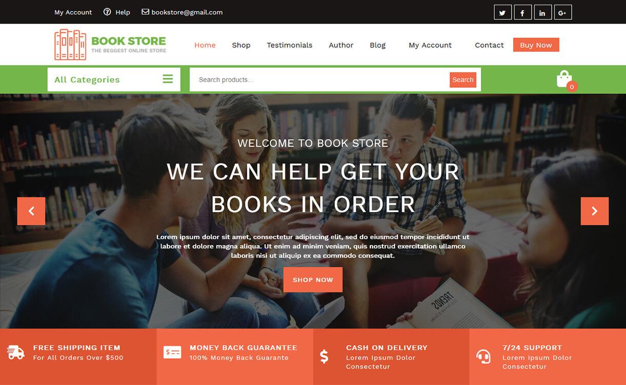 Book Store - Best Free WordPress Themes August