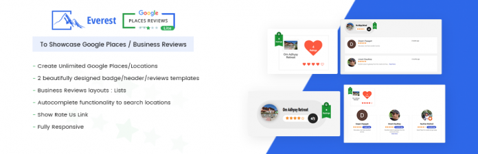 Everest Google Places Reviews Lite - Free WordPress Plugin To Showcase Google Places/Business Reviews