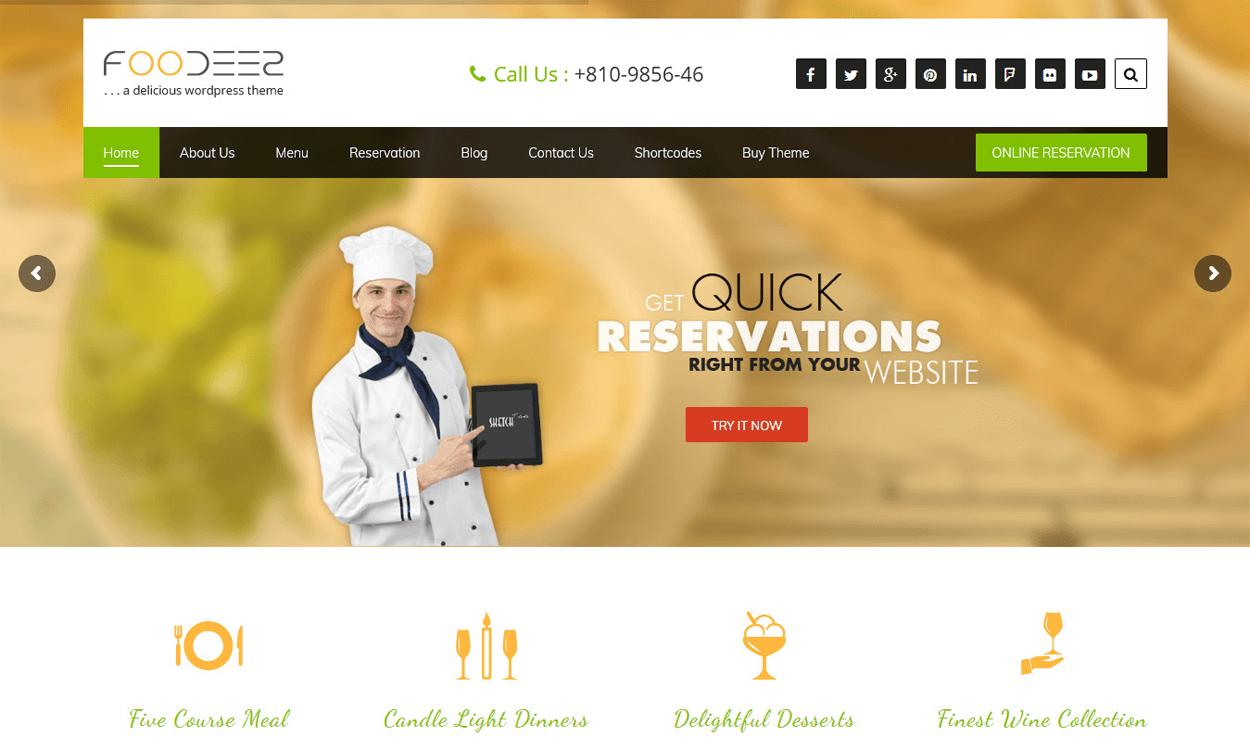 foodeez lite best free hotel resort wordpress themes latest - 17+ Best Free Hotel / Resort WordPress Themes (latest)