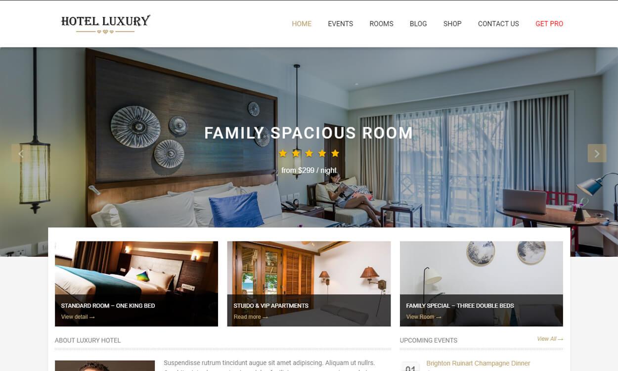 hotel luxury - 17+ Best Free Hotel / Resort WordPress Themes (latest)