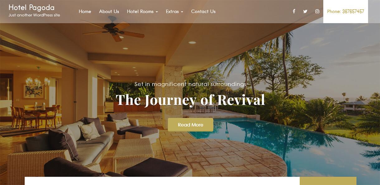 Hotel Pagoda Lite - Best Free Hotel Resort WordPress Themes Latest