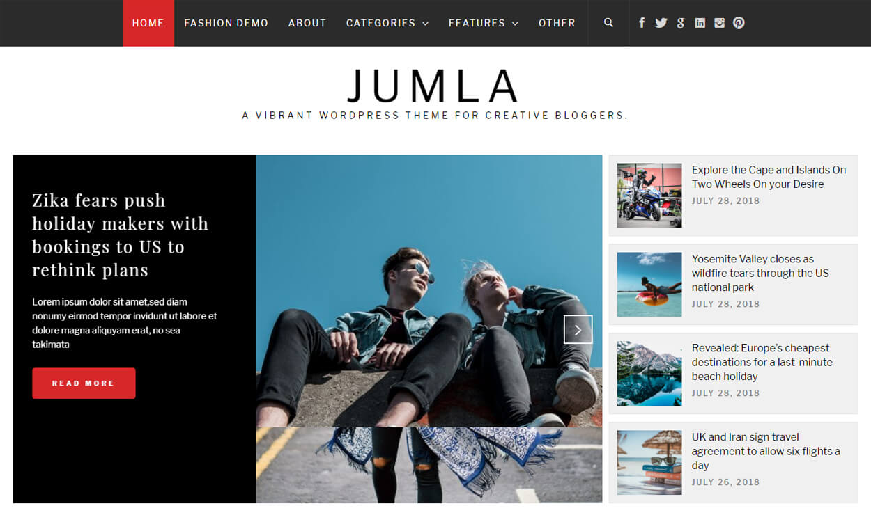 Jumla - Best Free WordPress Themes August