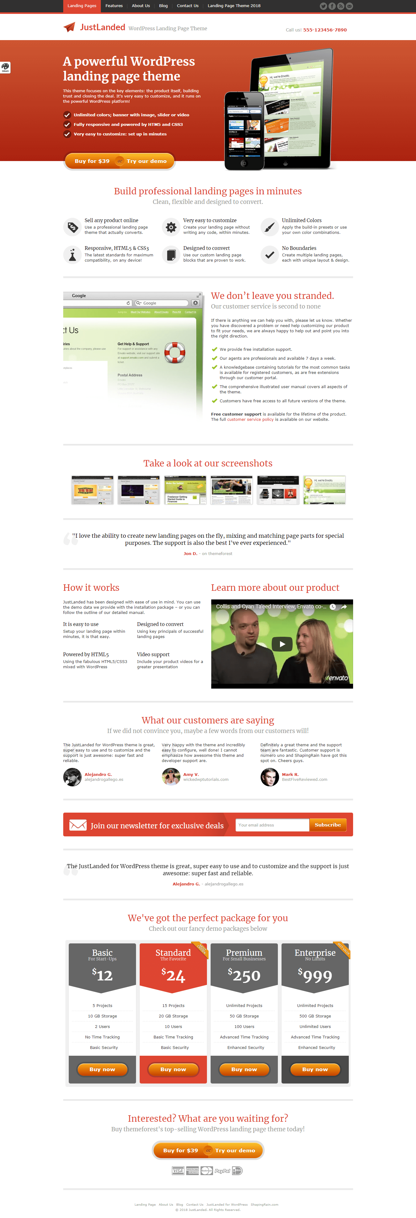 just landed premium wordpress landing page themes - 10+ Best Premium Landing Page WordPress Themes