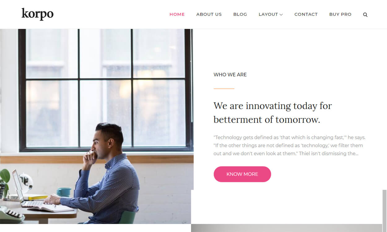 Korpo - Best Free WordPress Themes August