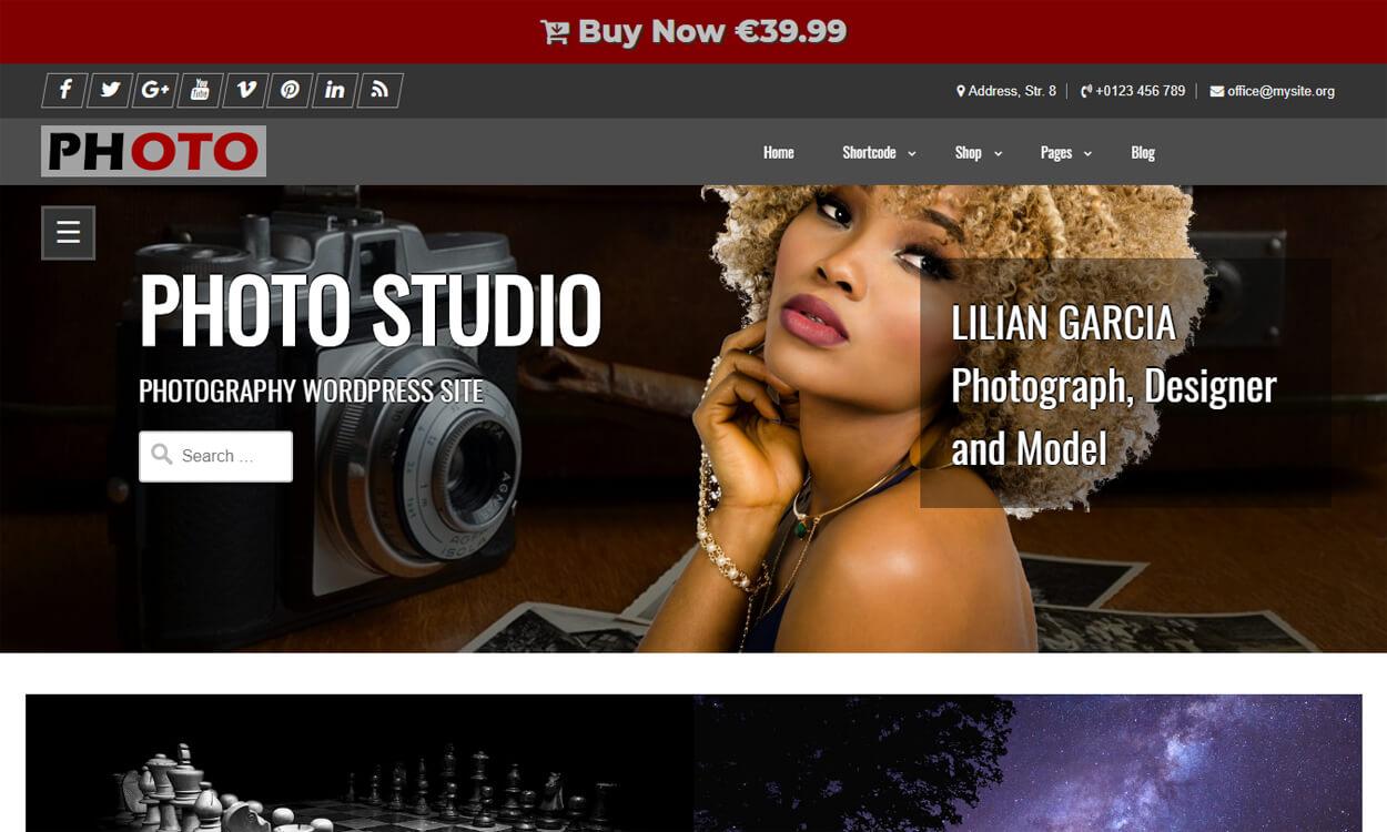Photo Studio - Best Free WordPress Themes August