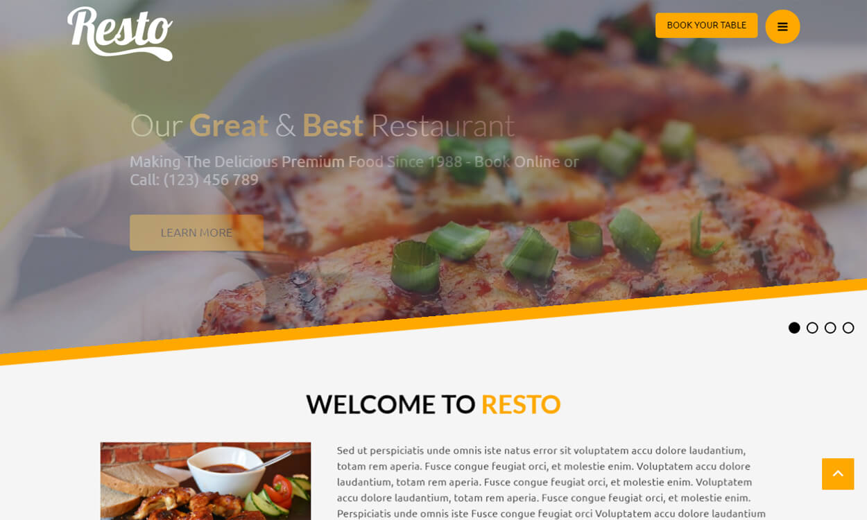 resto - 17+ Best Free Hotel / Resort WordPress Themes (latest)
