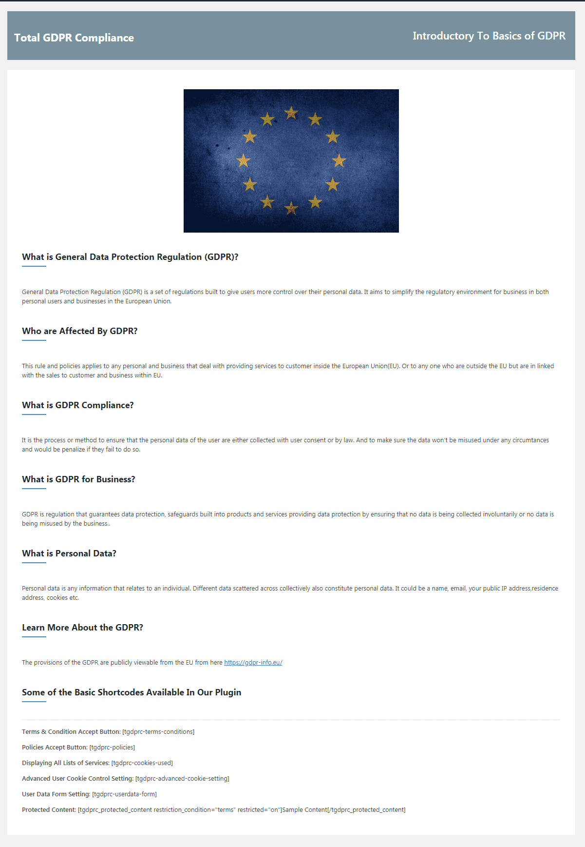 Total GDPR Compliance: About Page