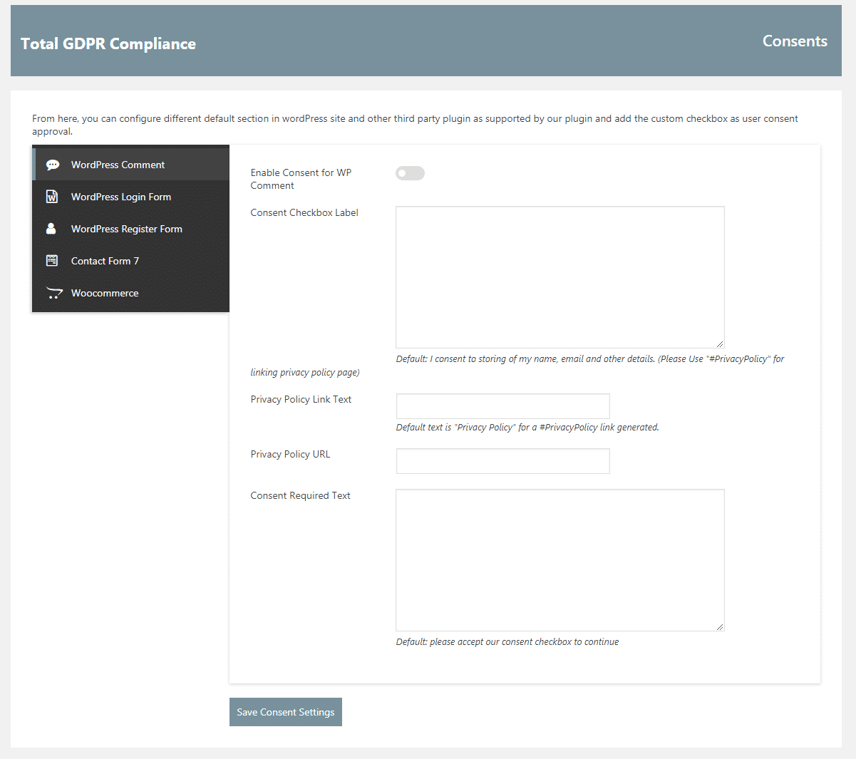 Total GDPR Compliance: Plugin Consents