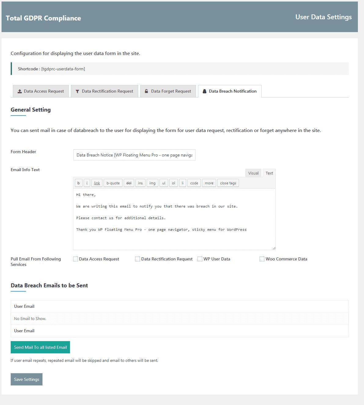 Total GDPR Compliance: User Data Breach Notification