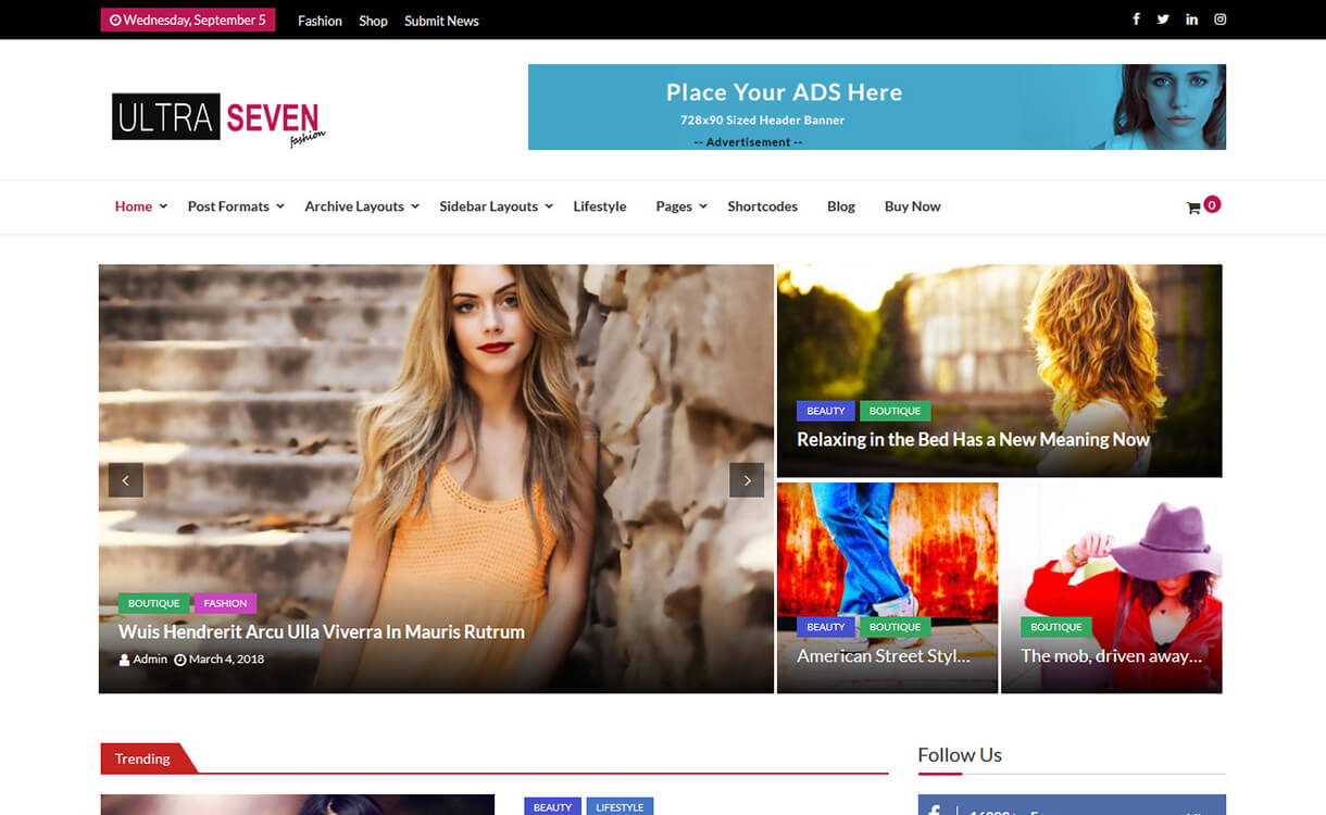 ultra seven best free wordpress themes august - 25+ Best Free WordPress Themes August 2018