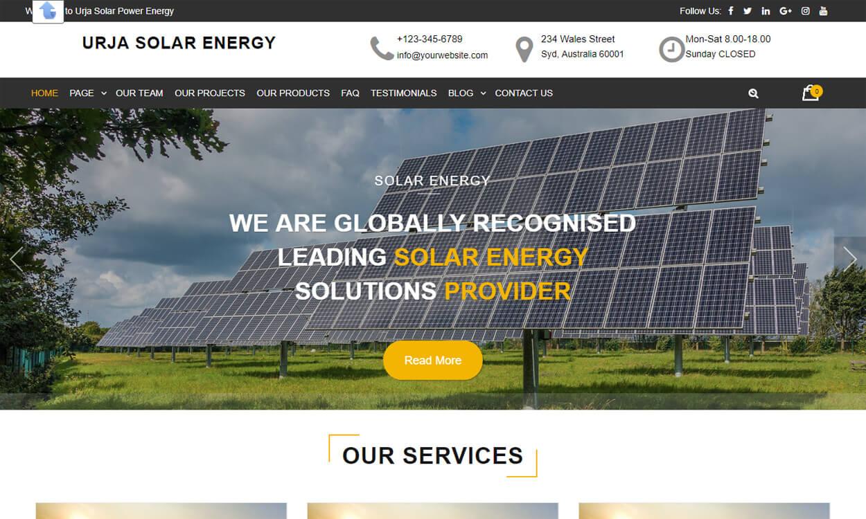 Urja Solar Energy - Best Free WordPress Themes August