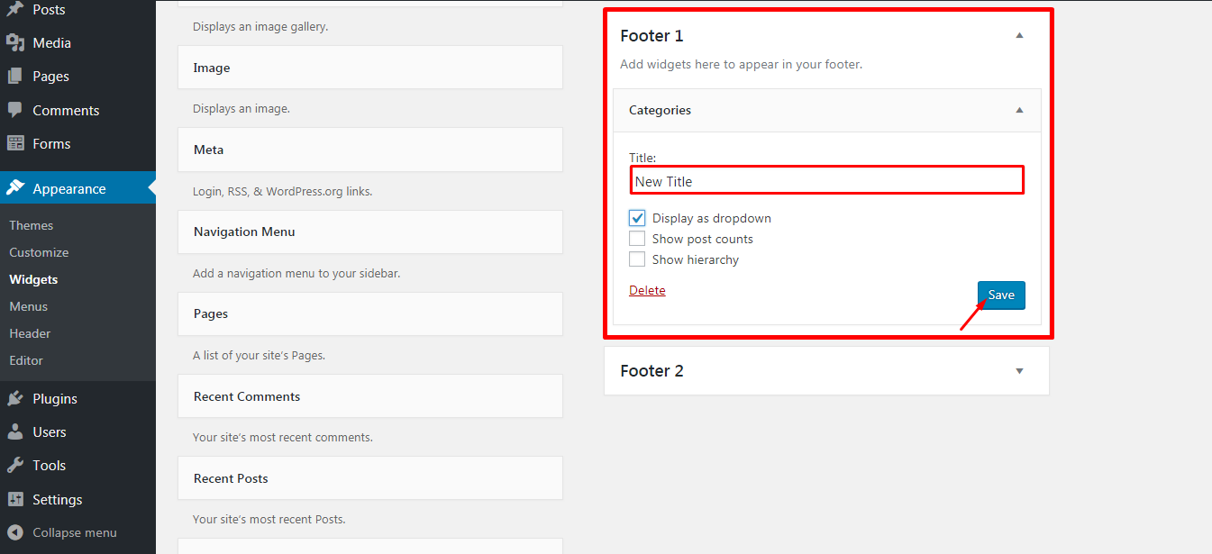 Adding Widget in the Footer 3 - How to add a widget on your WordPress website footer? (Step by Step Guide)