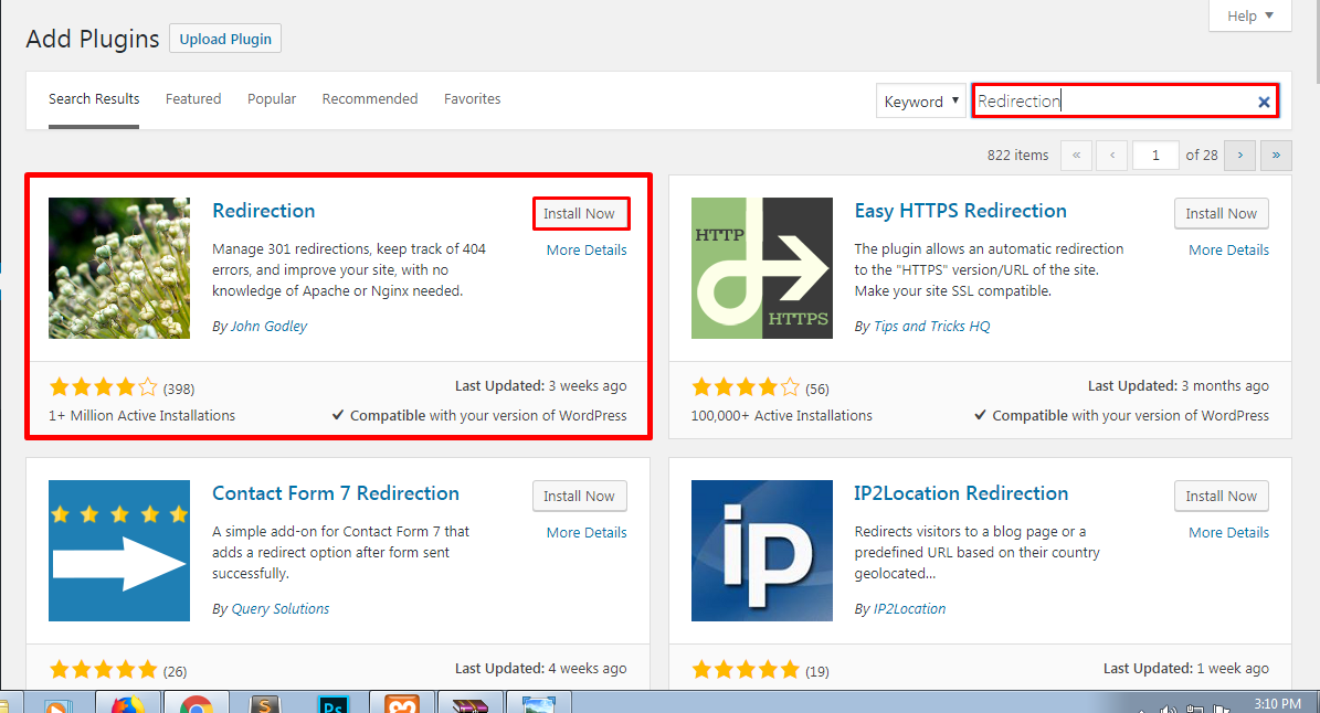 Installing plugin to redirect link in WordPress