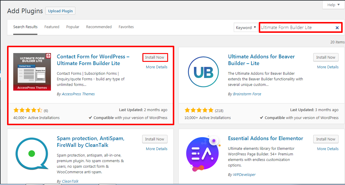 Ultimate Form Builder Lite Plugin Installation to create Contact Form in WordPress