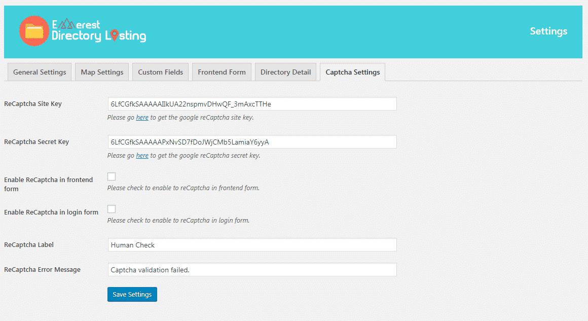 Everest Business Directory: Captcha Settings