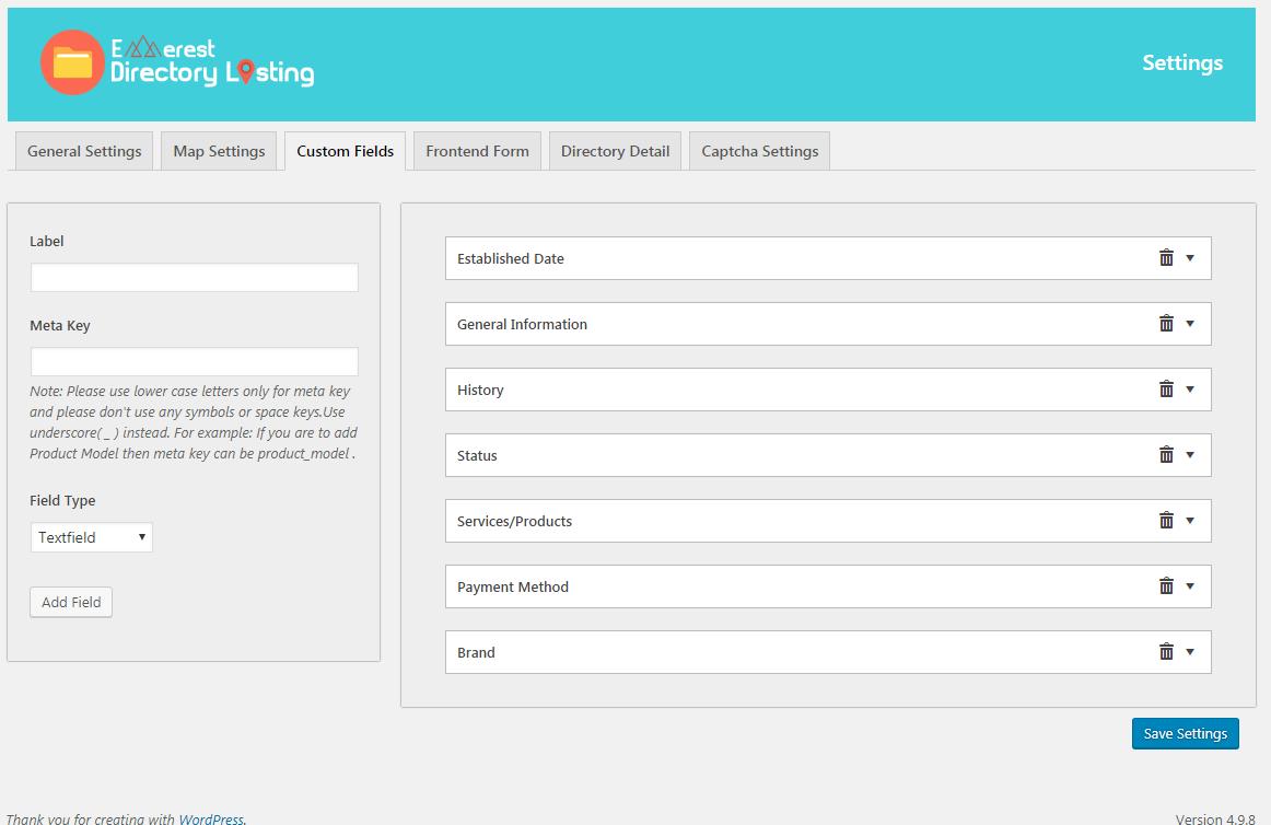 Everest Business Directory: Custom Fields