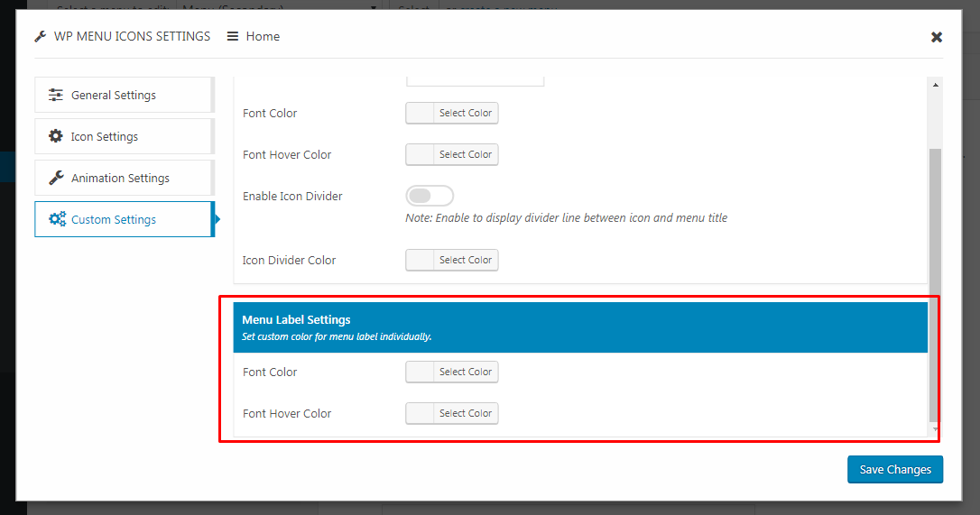 custom menu label styling settings - How to Add Custom Icons in your WordPress Menu? (Step by Step Guide)