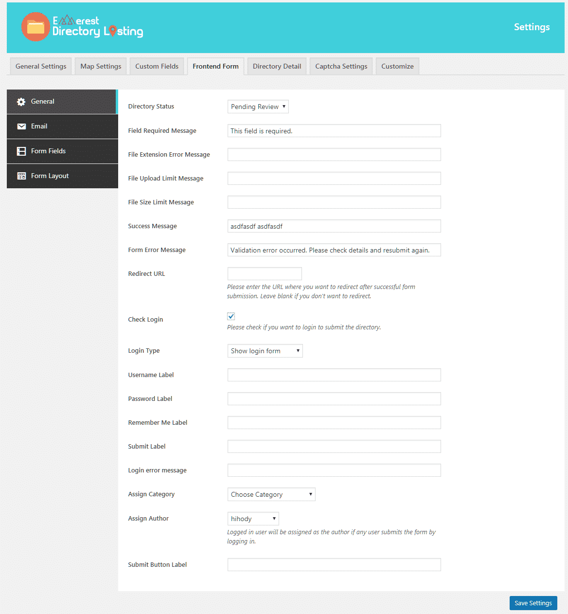 form general settings - How to create Business Directories in your WordPress Website? (Step by Step Guide)