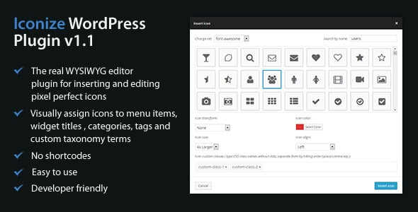 iconize - Top 3 WordPress Custom Menu Icons Plugins (Features Compared)