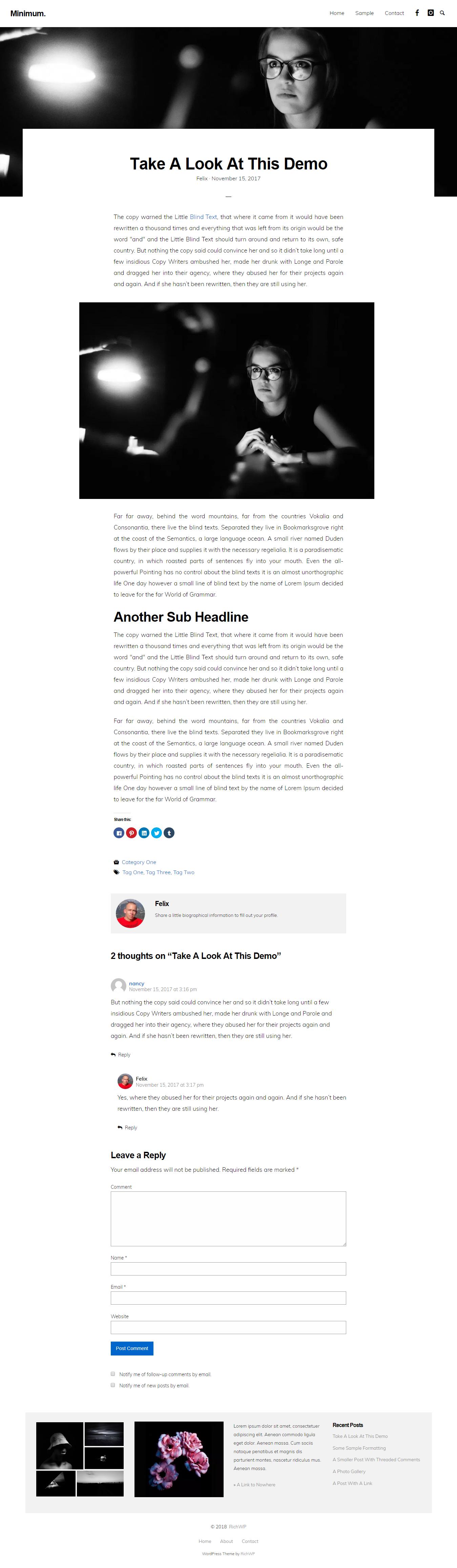 minimum minimal best free minimal wordpress theme - 10+ Best Free Minimal WordPress Themes