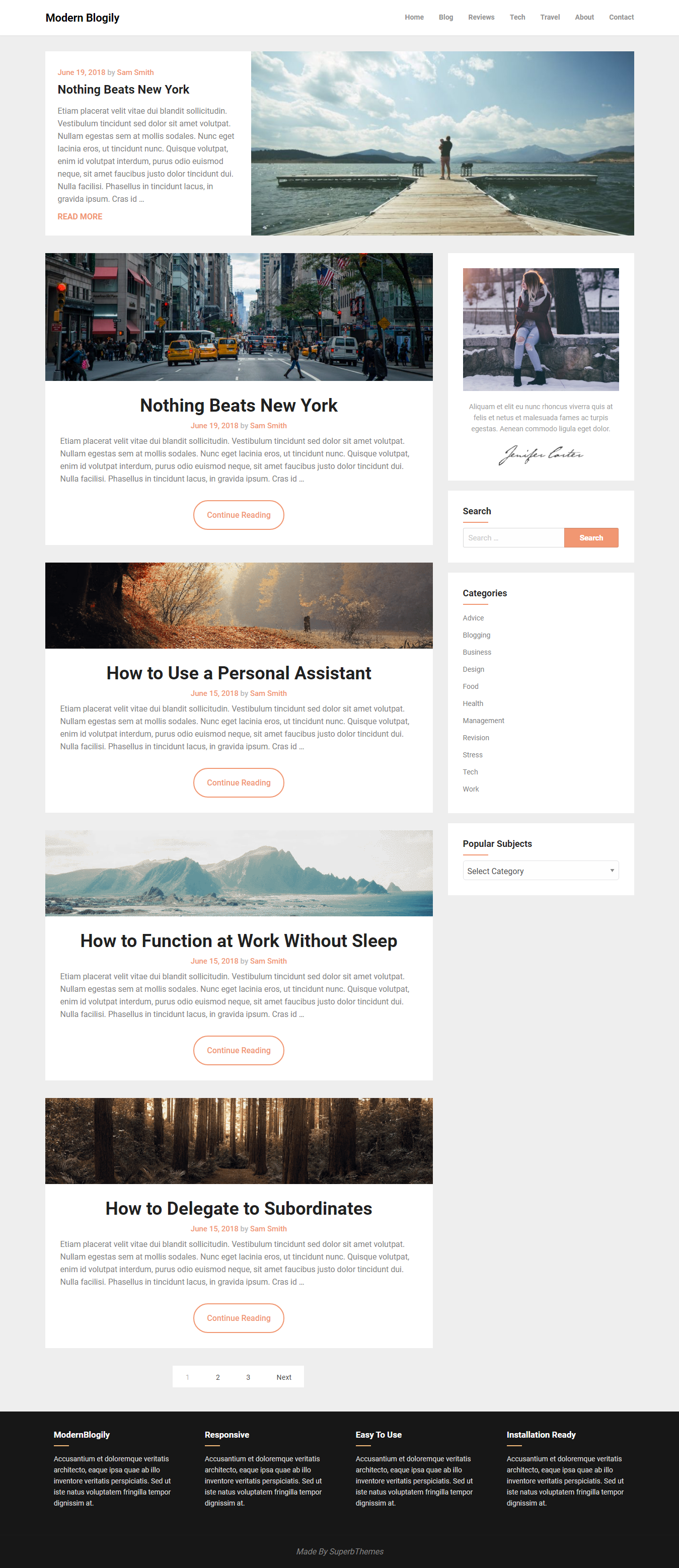 ModernBlogily - Best Free Minimal WordPress Theme