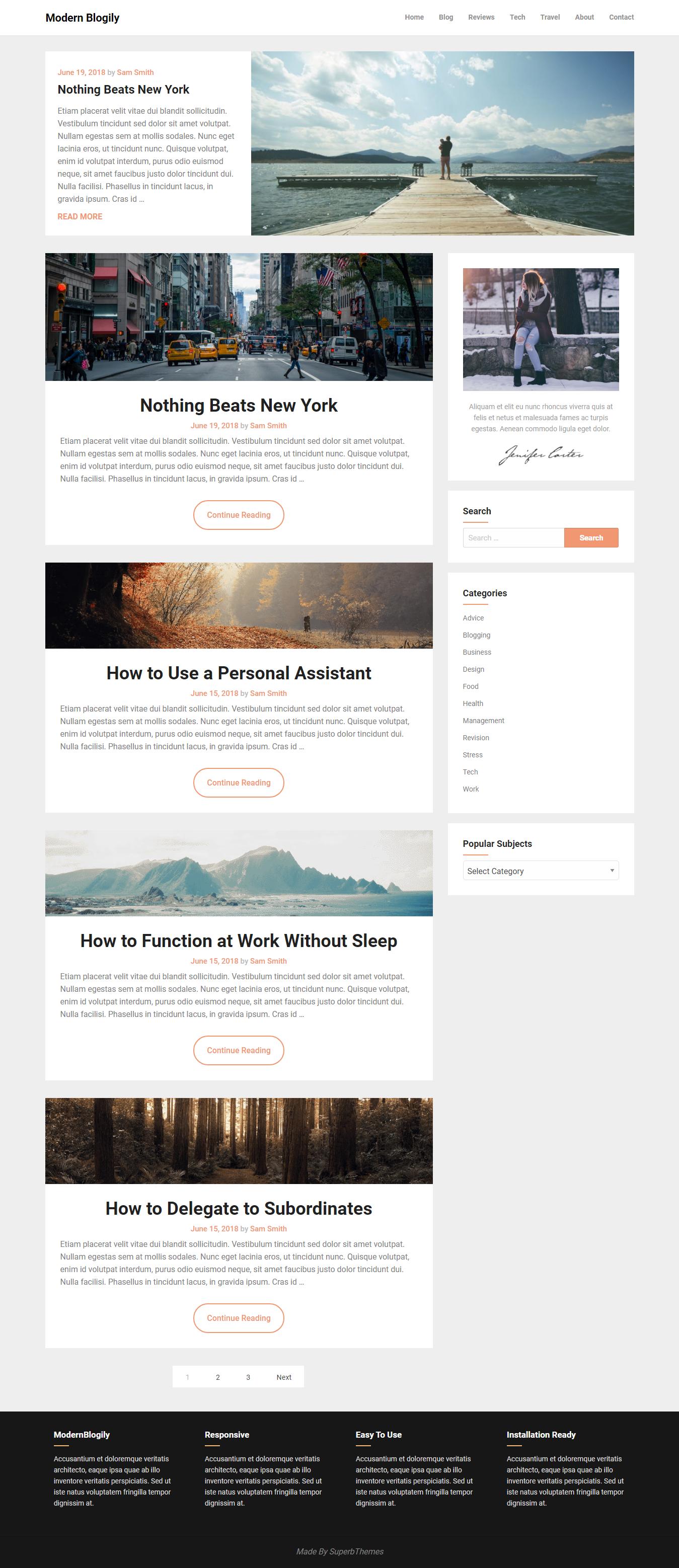 modern blogily best free minimal wordpress theme - 10+ Best Free Minimal WordPress Themes
